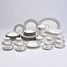 PLATINUM DIAMOND - 47PC BONE CHINA DINNER SET